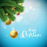 Vector Merry Christmas Illustration with Ornamental Balls and Pine Branch on Shiny Blue Background. Happy New Year Stock Images