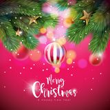 Vector Merry Christmas Illustration with Ornamental Balls and Pine Branch on Shiny Red Background. Happy New Year Royalty Free Stock Photo