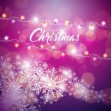Vector Merry Christmas Illustration on Shiny Snowflake. Background with Typography and Holiday Light Garland Stock Image