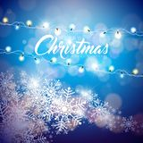 Vector Merry Christmas Illustration on Shiny Snowflake Background with Typography and Holiday Light Garland. Happy New. Year Design Royalty Free Stock Images