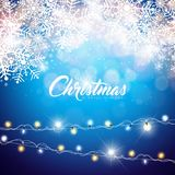 Vector Merry Christmas Illustration on Shiny Snowflake Background with Typography and Holiday Light Garland. Happy New. Year Design Stock Photo