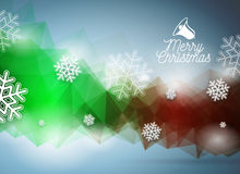 Vector  Merry Christmas illustration with snowflakes on abstract geometric background. Royalty Free Stock Images
