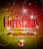 Vector Merry Christmas illustration with typograph Stock Images