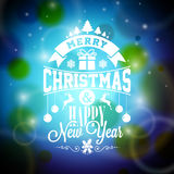 Vector Merry Christmas illustration with typographic design on shiny blue background. Royalty Free Stock Images