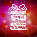 Vector Merry Christmas illustration with typographic design on shiny red background. EPS 10 illustration Stock Photos