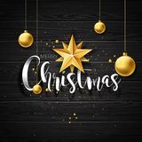 Vector Merry Christmas Illustration on vintage wood Background with Typography and Holiday Elements. Stars and Stock Photo