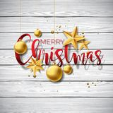 Vector Merry Christmas Illustration on vintage wood Background with Typography and Holiday Elements. Stars and Stock Photography