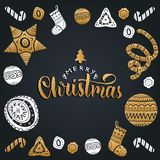 Vector Merry Christmas lettering with festive New Year elements. Happy Holidays typography for greeting card template. Vector Merry Christmas lettering with Stock Photography