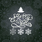 Vector Merry Christmas lettering. Greeting card with hand-drawn Royalty Free Stock Photo