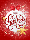 Vector merry christmas lettering with paper christmas ornament Royalty Free Stock Image
