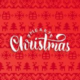Vector Merry Christmas lettering on snowflakes background. Nativity typography. Happy Holidays greeting card, poster. Stock Photo