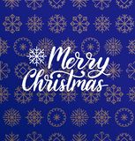 Vector Merry Christmas lettering on snowflakes background. Nativity typography. Happy Holidays greeting card, poster. Royalty Free Stock Images