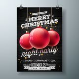 Vector Merry Christmas Night Party Illustration with Holiday Typography Elements and Red Ornamental Ball on Vintage Wood Stock Image