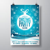 Vector Merry Christmas Party design with holiday typography elements and glass balls on winter landscape background. Royalty Free Stock Photo