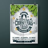 Vector Merry Christmas Party design with holiday typography elements and gold stars on vintage wood background. Royalty Free Stock Photo