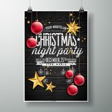 Vector Merry Christmas Party design with holiday typography elements and gold stars on vintage wood background. Stock Image