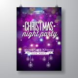 Vector Merry Christmas Party Design with Holiday Typography Elements and Light Garland on Shiny Background. Celebration Royalty Free Stock Photo