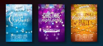 Vector Merry Christmas Party Design with Holiday Typography Elements and Light Garland on Shiny Background. Celebration Royalty Free Stock Photos