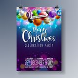 Vector Merry Christmas Party Design with Holiday Typography Elements and Multicolor Ornamental Balls on Shiny Background Royalty Free Stock Image