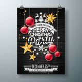 Vector Merry Christmas Party Design with Holiday Typography Elements and Ornamental Ball, Cutout Paper Star on Vintage. Wood Background. Celebration Flyer stock illustration