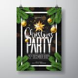 Vector Merry Christmas Party Design with Holiday Typography Elements and Ornamental Balls on Vintage Wood Background Royalty Free Stock Photo