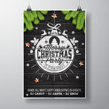 Vector Merry Christmas Party design with holiday typography elements and shiny stars on vintage wood background. Stock Photos
