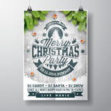 Vector Merry Christmas Party design with holiday typography elements and shiny stars on vintage wood background. Stock Image