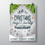 Vector Merry Christmas Party design with holiday typography elements and shiny stars on vintage wood background. EPS 10 illustration Stock Photos