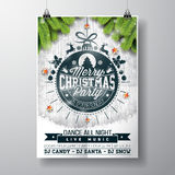 Vector Merry Christmas Party design with holiday typography elements and shiny stars on vintage wood background. Stock Photo
