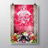 Vector Merry Christmas Party design with holiday typography elements and speakers on shiny background. Royalty Free Stock Images