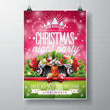 Vector Merry Christmas Party design with holiday typography elements and speakers on shiny background. Royalty Free Stock Image