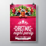 Vector Merry Christmas Party design with holiday typography elements and speakers on shiny background. Stock Photography