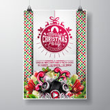 Vector Merry Christmas Party design with holiday typography elements and speakers on shiny background. Stock Images