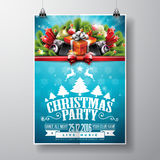 Vector Merry Christmas Party design with holiday typography elements and speakers Stock Image