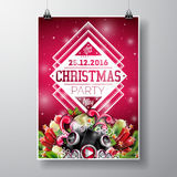Vector Merry Christmas Party design with holiday typography elements and speakers on shiny background. Royalty Free Stock Photography