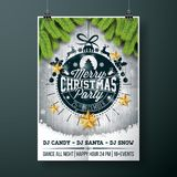Vector Merry Christmas Party design with holiday typography   Stock Photography