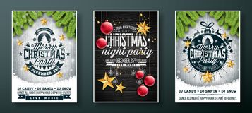 Vector Merry Christmas Party Flyer design with holiday typography elements and gold cutout paper stars, glass ball on. Vintage wood background. Illustration Set vector illustration