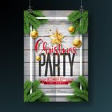 Vector Merry Christmas Party Flyer Design with Holiday Typography Elements and Ornamental Balls on Vintage Wood Stock Photo
