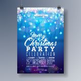 Vector Merry Christmas Party Flyer Design with Holiday  Royalty Free Stock Photos