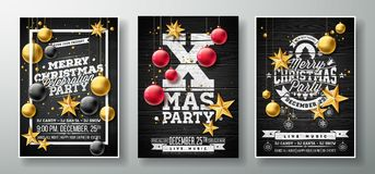Vector Merry Christmas Party Flyer Illustration with Gold Cutout Paper Star, Glass Ball and Typography Element on Black. Vintage Wood Background. Invitation vector illustration