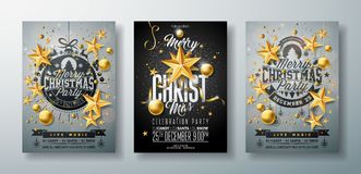 Vector Merry Christmas Party Flyer Illustration with Holiday Typography Elements Gold Cutout Paper Star and Ornamental. Ball on Clean Background. Celebration royalty free illustration