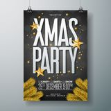 Vector Merry Christmas Party Flyer Illustration with Holiday Typography Elements and Gold Ornamental Ball, Cutout Paper Stock Photo