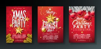Vector Merry Christmas Party Flyer Illustration with Holiday Typography Elements and Gold Ornamental Ball, Cutout Paper Stock Photography