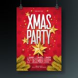 Vector Merry Christmas Party Flyer Illustration with Holiday Typography Elements and Gold Ornamental Ball, Cutout Paper Royalty Free Stock Photos