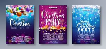 Vector Merry Christmas Party Flyer Illustration with Holiday Typography Elements and Multicolor Ornamental Balls, Cutout vector illustration