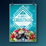 Vector Merry Christmas Party Flyer Illustration with Typography and Holiday Elements on Blue background. Invitation Stock Photos