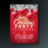 Vector Merry Christmas Party Flyer Illustration with Typography and Holiday Elements on Blue background. Invitation. Poster Template with Silver Pine Branch royalty free illustration