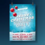 Vector Merry Christmas Party Flyer Illustration with Typography and Holiday Elements on Blue background. Winter Stock Photos
