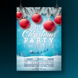 Vector Merry Christmas Party Flyer Illustration with Typography and Holiday Elements on Blue background. Winter Royalty Free Stock Image