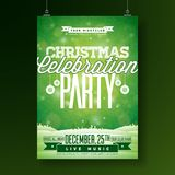 Vector Merry Christmas Party Flyer Illustration with Typography and Holiday Elements on Green background. Winter Stock Photography